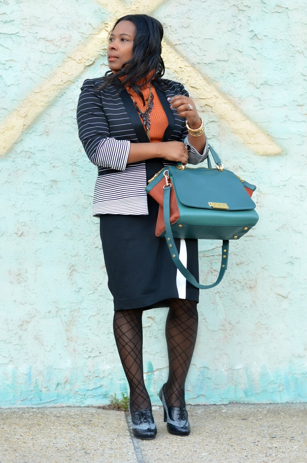 Saks-Fifth-Avenue-Pencil-Skirt-Nordstrom-Stripe-Blazer-Zac-Posen-Bag-Bronze-Lip-Color-Houndstooth-Two-Tone-Heels