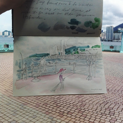 Kitty N. Wong / Sketchbook live sketch of Whampoa Promenade, Hung Hom.