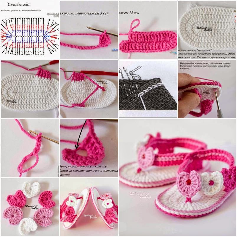 Crochet Pattern Baby Girl Sandals : ??????? ?? ????????: Adorable Crochet Baby Sandals/??????? ...