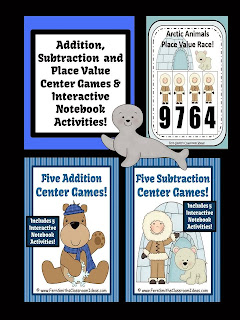 Winter Addition Subtraction and Place Value Discounted Bundle Center Games