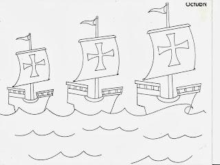 Dibujos de las Tres carabelas de Colon para colorear
