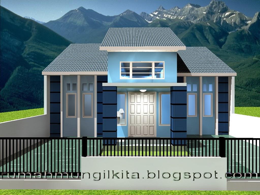 rumah mungil minimalis bernuansa biru tipe 70 4 kamar tidur tampak depan