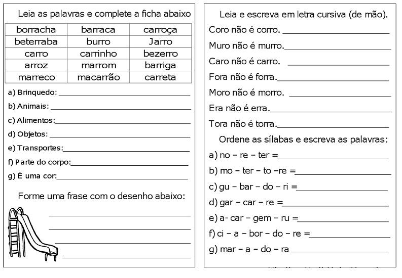 Atividades da tia: ATIVIDADES COM ORTOGRAFIA R, RR. SUGESTÃO DE ...