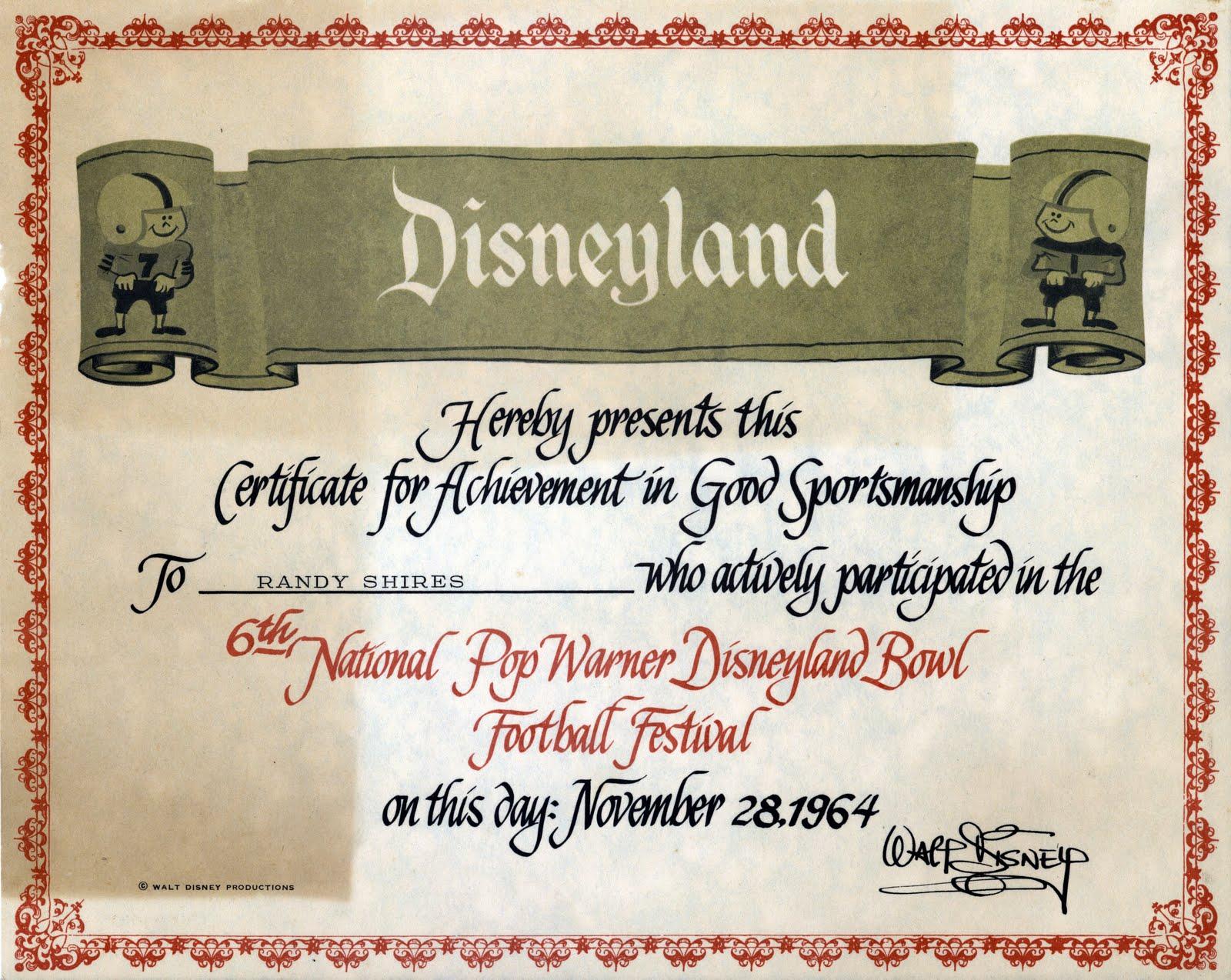 Vintage Disneyland Tickets: Disneyland - Pop Warner, November 28, 1964