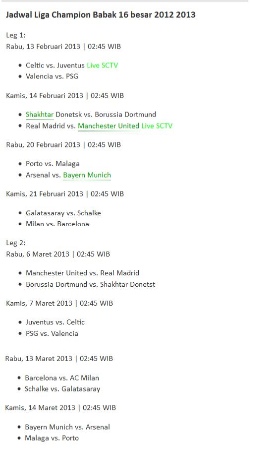 Liga Champions 16 Besar 2013
