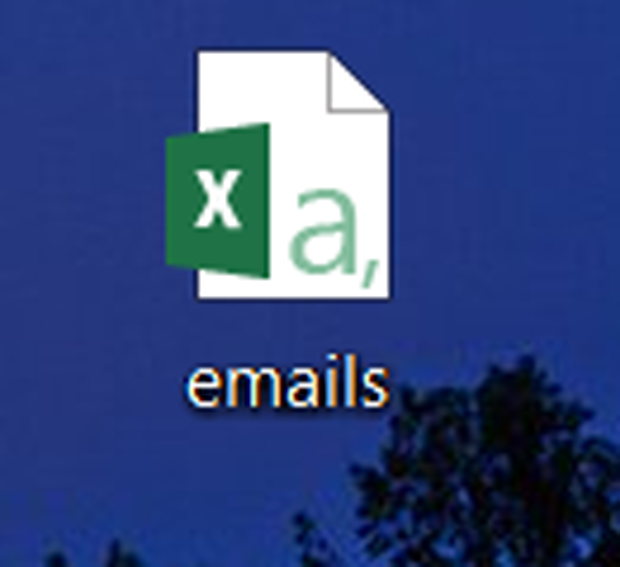 "Microsoft Excel document logo on a Windows desktop, with a file named ""emails."""