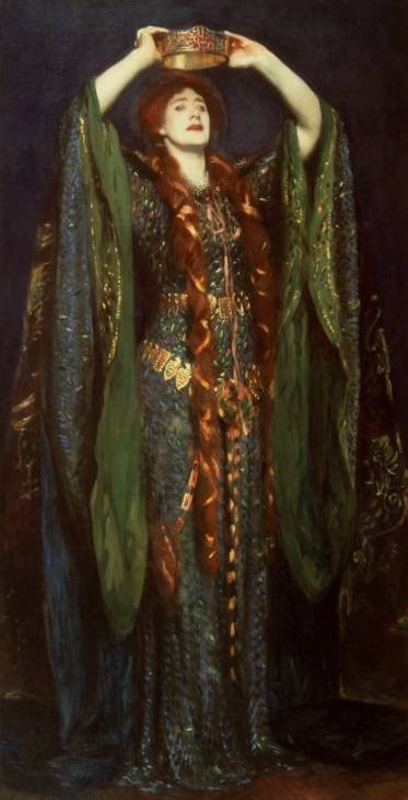 Painting of a women with long, red hair holding a crown above her head; she is dressed in a brilliant emerald gown in a medieval style.
