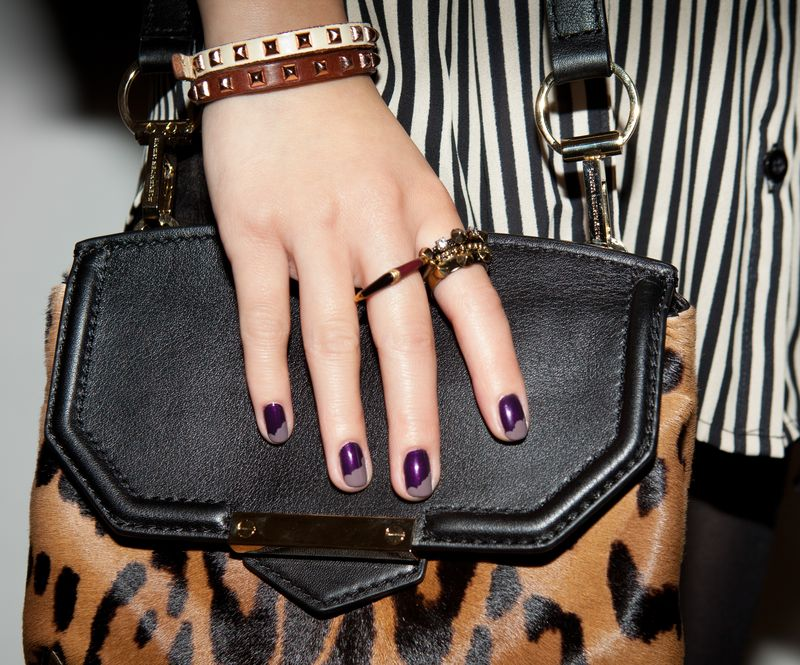 fall manicure inspiration, purple nails, messy french tips