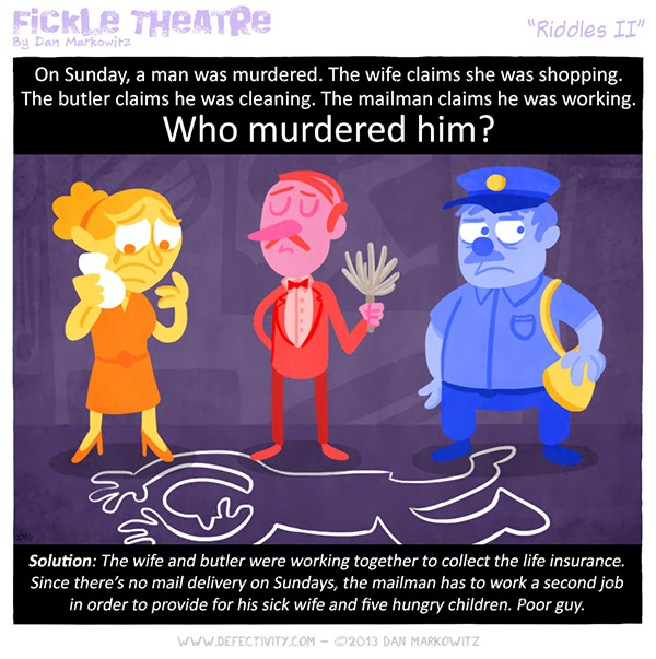 Murder mystery riddle comic