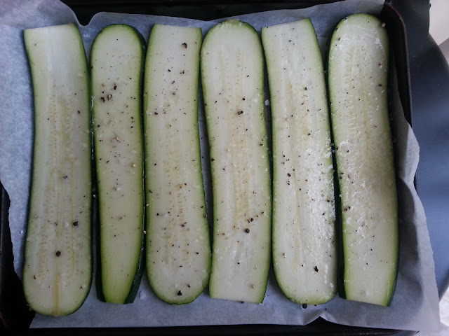 Zucchini ready to roast for a primal vegetable lasagna