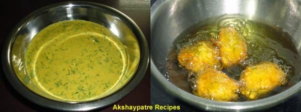 make a besan mixture, dip and fry the bhajis