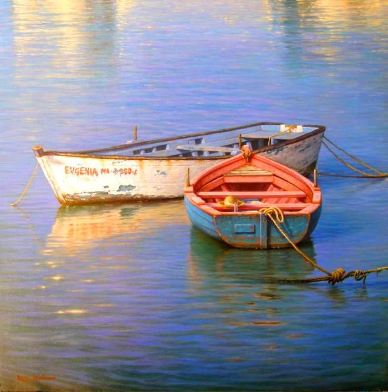 Im genes arte pinturas paisaje romance al atardecer - Pintar en lienzo para principiantes ...