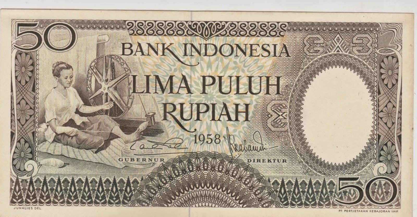 uang kuno Seri pekerja tangan tahun 1958 pecahan 50 rupiah