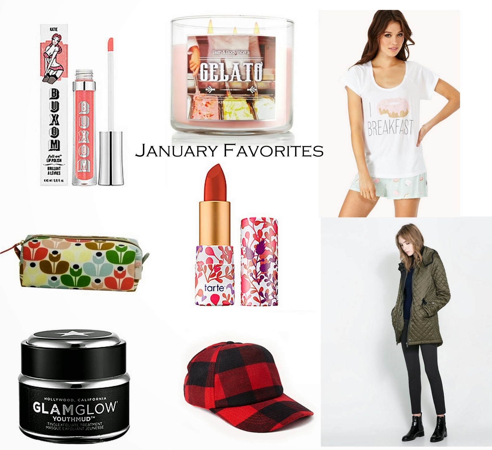 january favorites, blogger, makeup, fashion, syle, glam glow, buffalo plad, donut, zara, forever21, buxum, lipgloss, gelato candle, bath and body works, sephora, tarte, amazonian lipstick, orla kiely, target