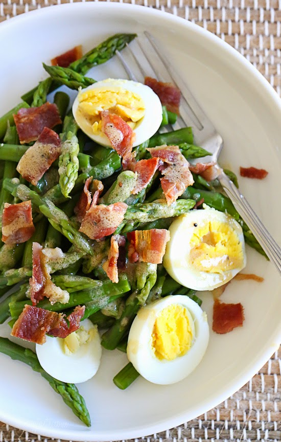 Asparagus Egg and Bacon Salad with Dijon Vinaigrette ? hard boiled egg and bacon tossed with a Dijon vinaigrette ? it has Spring written all over it!