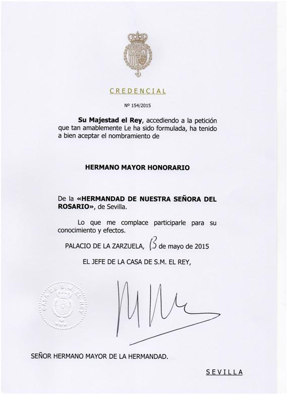 Nombramiento de Hermano Mayor Honorario