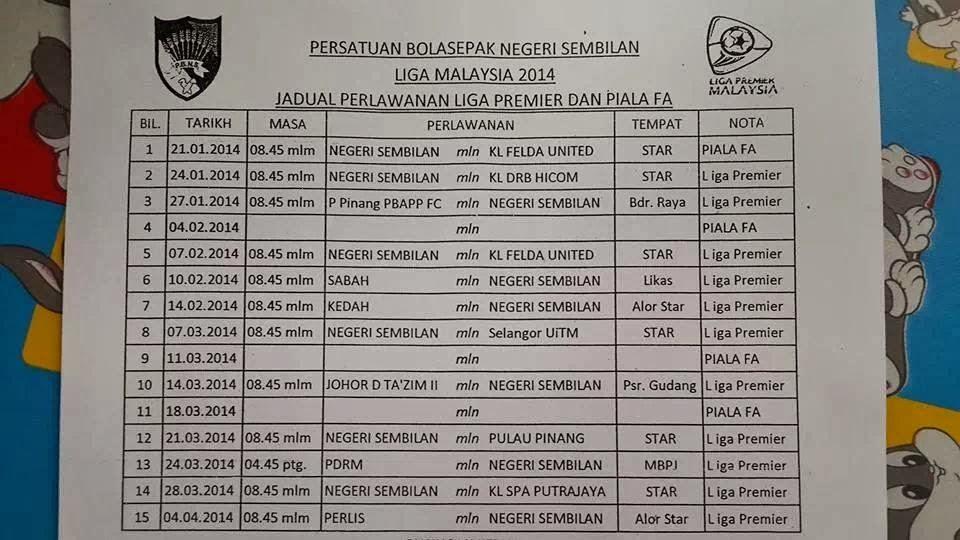 Jadual Penuh Perlawanan Liga Premier & Piala FA Negeri Sembilan 2014