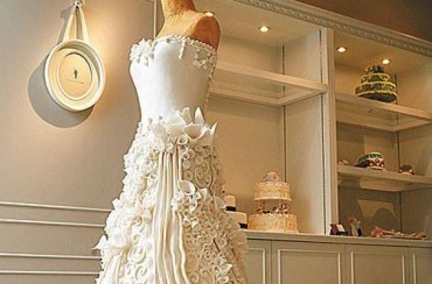 This stunning wedding dress cake is truly food as art