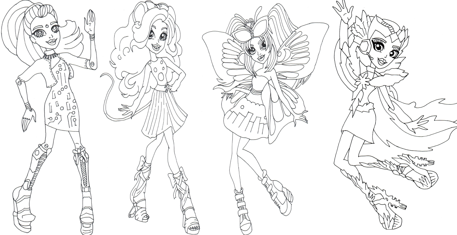 free printable monster high coloring sheet for elle eedee mouscedes king luna mothews and astranova in boo york