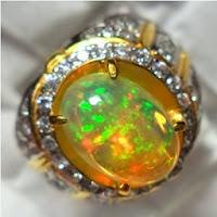 Cincin Batu Permata Opal Kalimaya Kembang Jarong