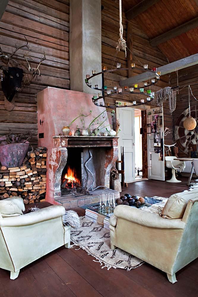 Diseño interior Upcycling en una casa de Noruega - chimenea salon