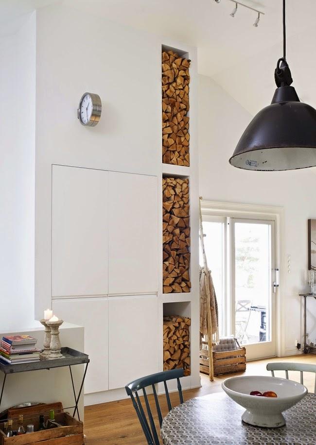 wnętrze, mieszkanie, białe, lampa, regał na drewno