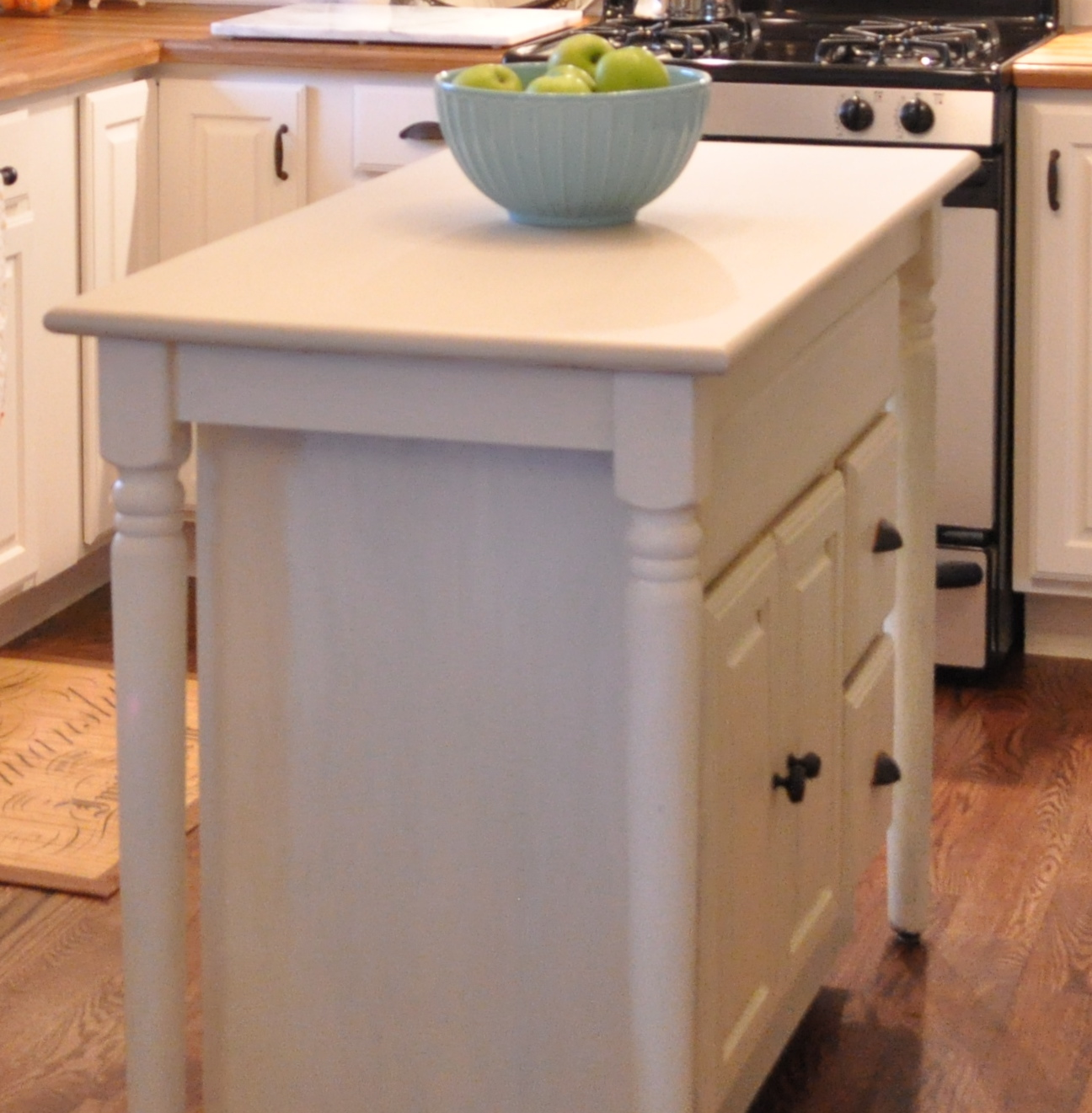 Build kitchen island table - Build An Inexpensive Island With A High Table And Abase Cabinet