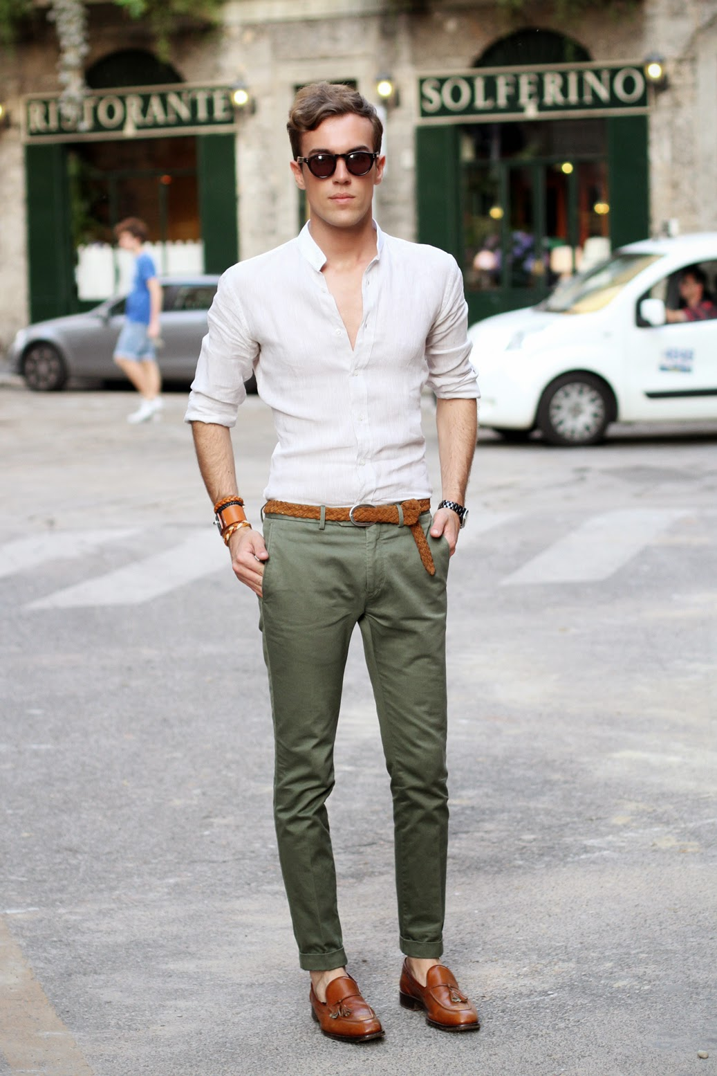 green pants, white button-up shirt, brown belt, brown loafers, brown bangle,