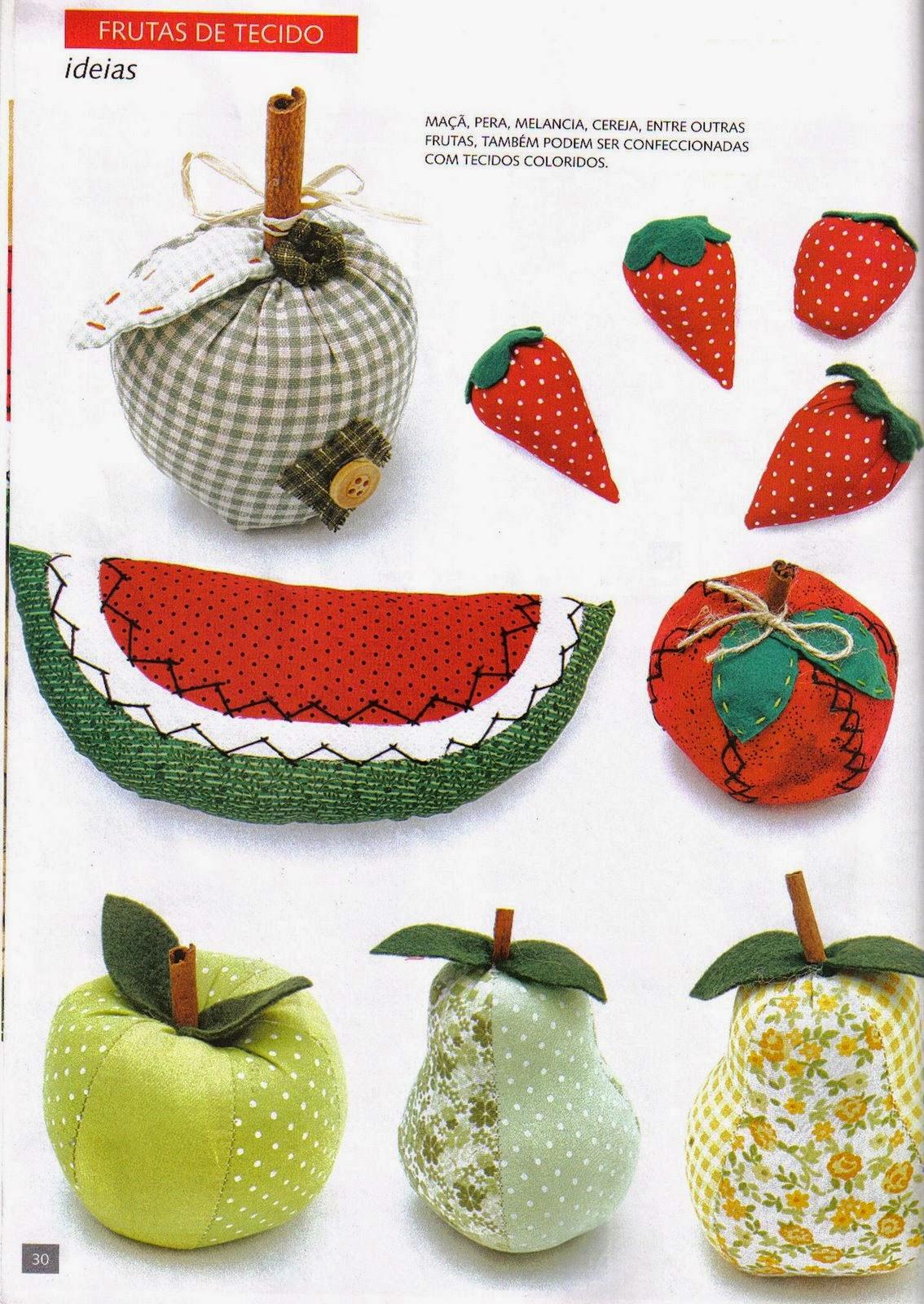 Cesta com frutas de tecido