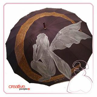 Comienzo de la evolución de paraguas pintado a mano por Sylvia Lopez Morant