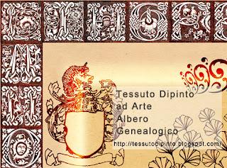 Particolare delle lettere e dello stemma per Albero Genealogico