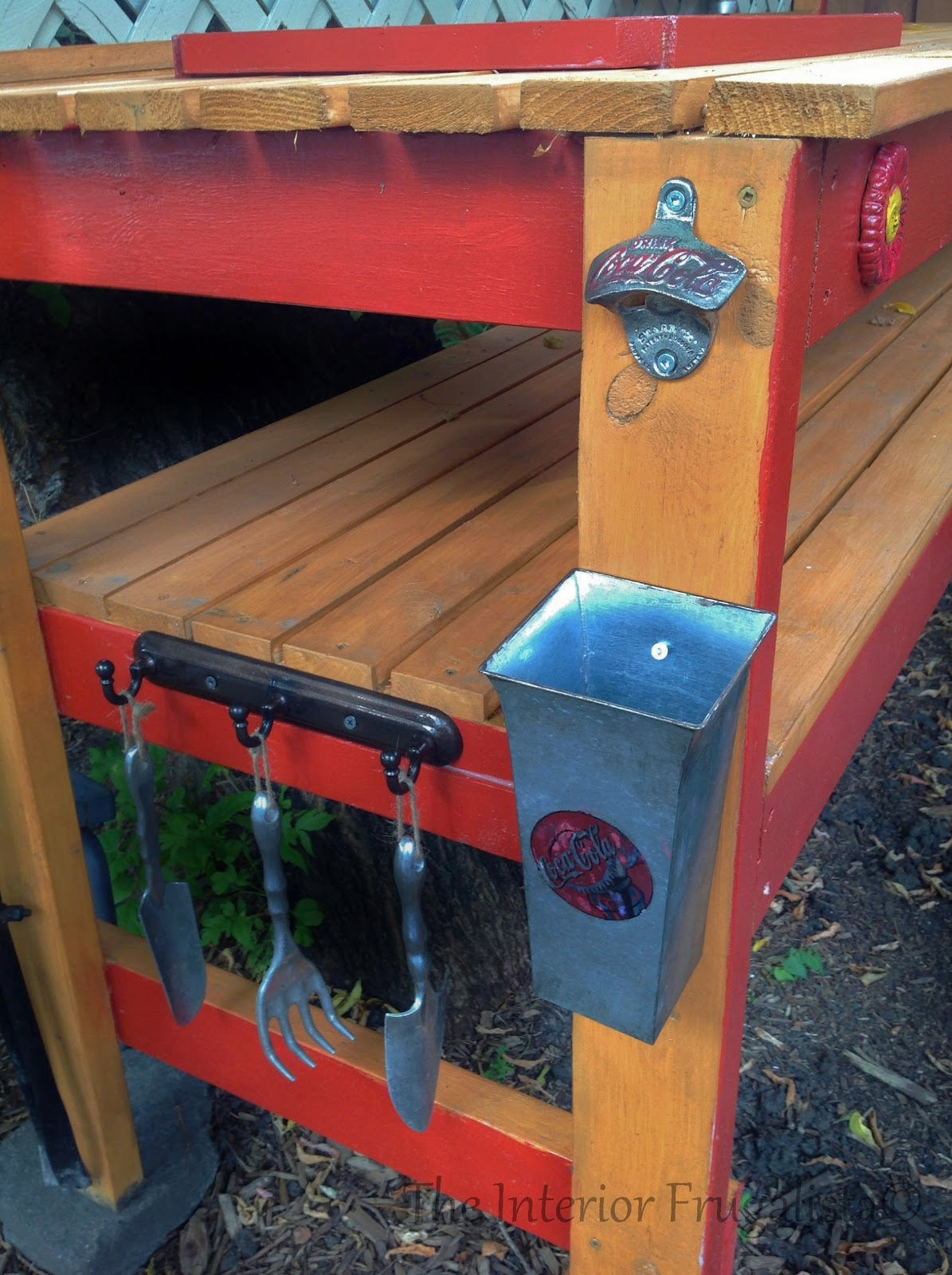 Easy DIY potting bench and outdoor bar with bottle opener, catcher, and garden tool hooks