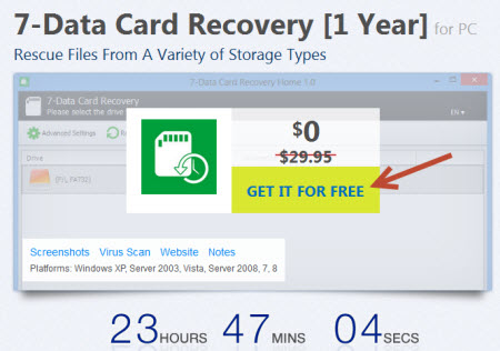 Free 7-Data Card Recovery [1 Year] giveaway