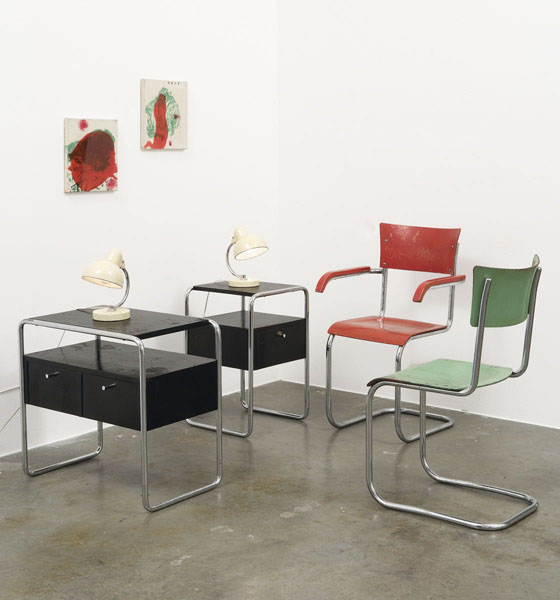 Mart Stam, Manufactured by Thonet, ca. 1935; painted molded plywood, chrome-plated tubular steel
