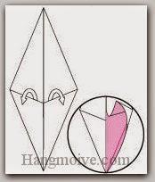 Bước 4: Mở hai lớp giấy ra, kéo và gấp hai lớp giấy lên trên.