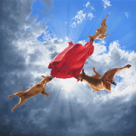 Joel Rea pintura hiper-realista surreal cães gigantes caindo céu Brilhando