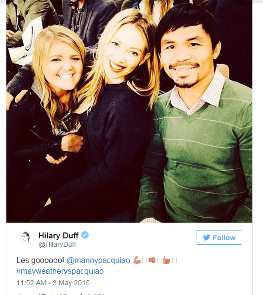 hilary duff on maypac fight