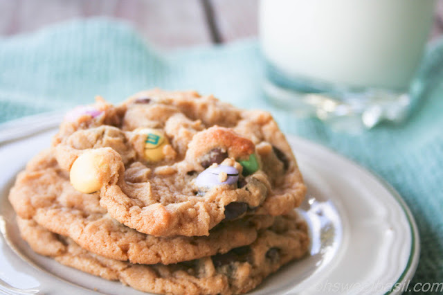 Peanut Butter, Chocolate and M&M cookies