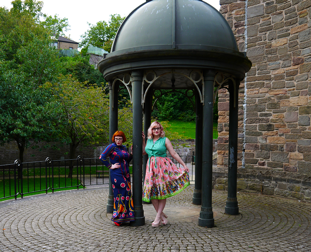 Nicely Eclectic, vintage clothing, Dundee photoshoot location, swing dress, BOB by DOP, modern styling with vintage, ginger, 1920s look, 1950s modern