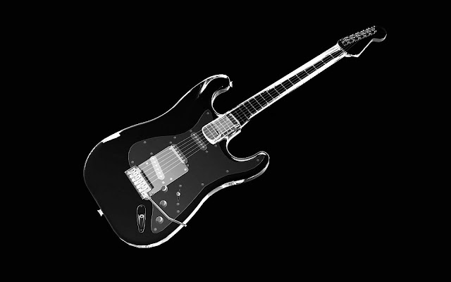 Black White Guitar - Black and White Wallpaper