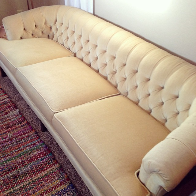 #thriftscorethursday Week 70 | Instagram user: thriftedriches shows off this Yellow Tufted Sofa