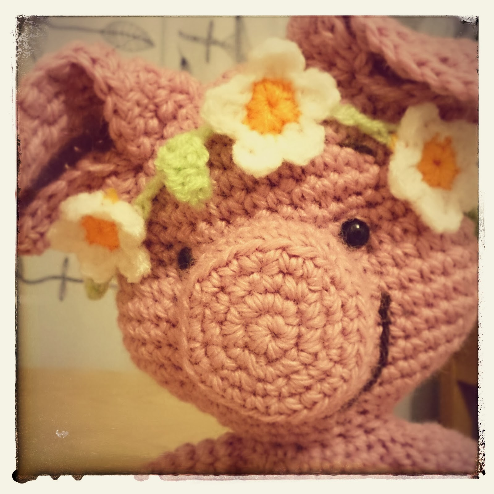 Crochet spring piggy with flowery headband