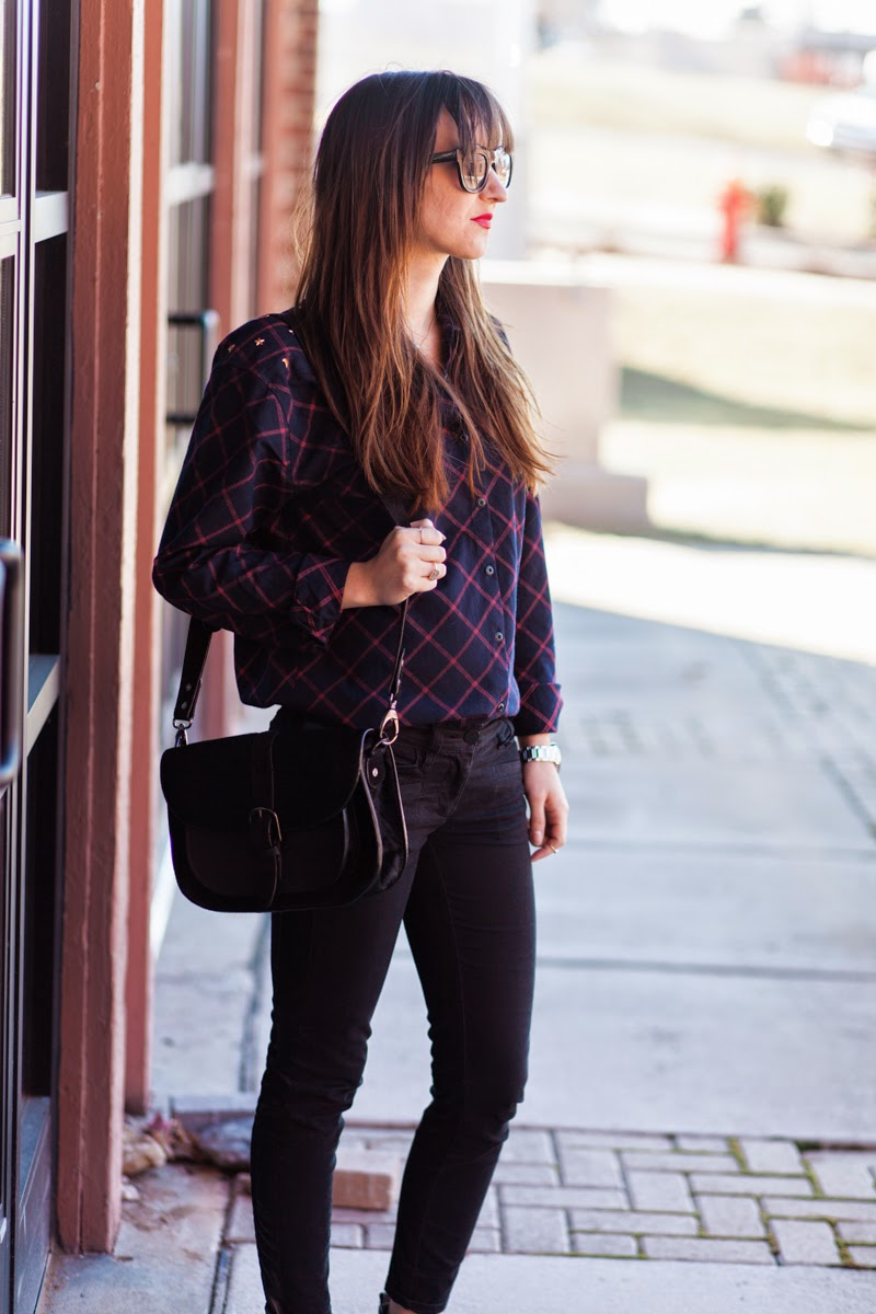 plaid shirt, studded shirt, button down shirt, mason scotch, scotch and soda, red lipstick outfit, trousers with faux leather stripe loft pants, steve madden booties, silver toed booties, long hair with bangs, kate spade watch, nashville blogger, nashville street style, fashion blogger, maternity style