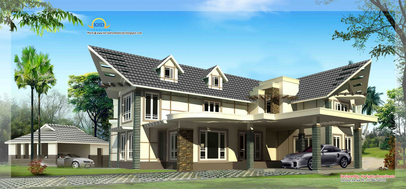 Beautiful Luxury Home 3255 Sq Ft Kerala Home Design And Floor