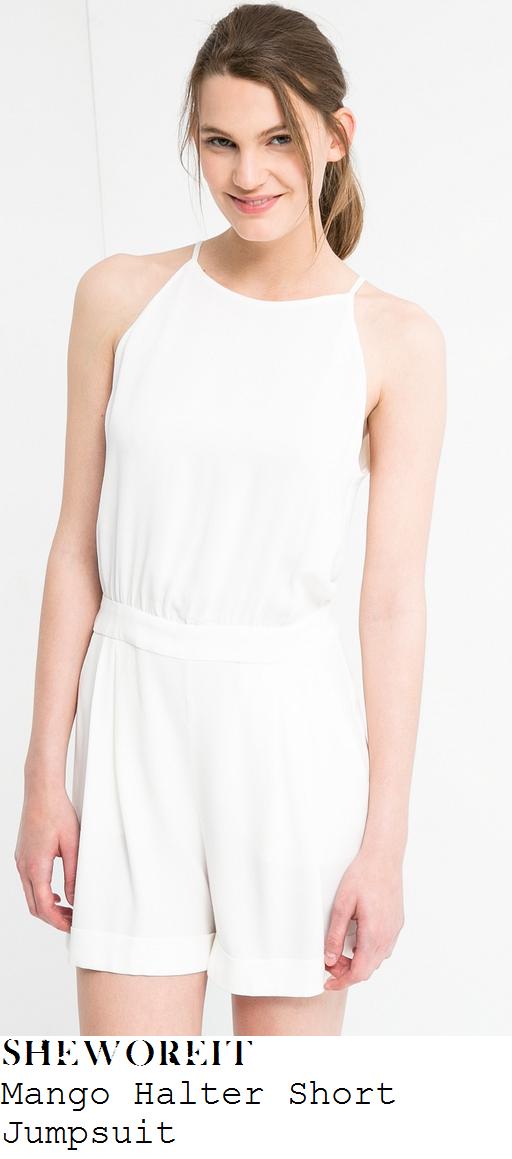 michelle-heaton-white-cream-halter-neck-playsuit-alice-in-wonderland