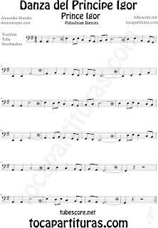 Partitura de La Danza del Principe Igor para Trombón, Tuba Elicón y Bombardino by Borodin Polovetzian Dance No.17 Dance Prince Igor Sheet Music for Trombone, Tube, Euphonium Music Scores