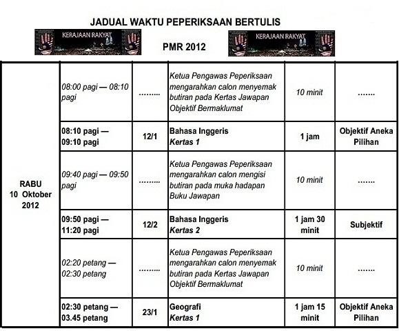 Jadual Peperiksaan Menengah Rendah (PMR) 2012
