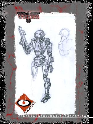 Boceto o diseño para personaje -robot de apoyo de la Kempeitai japonesa- hecha por ªRU-MOR para el juego de rol de sci-fi WALKÜRE. Robot de forma humanoide, armado, y con las insignias propias de esta policía de élite.
