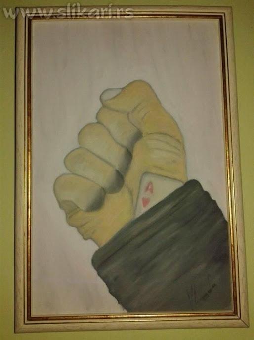 KEC U RUKAVU-ulje na platnu 30 x 20cm-umetnik vladisav art bogićević-slikar Luna Niš