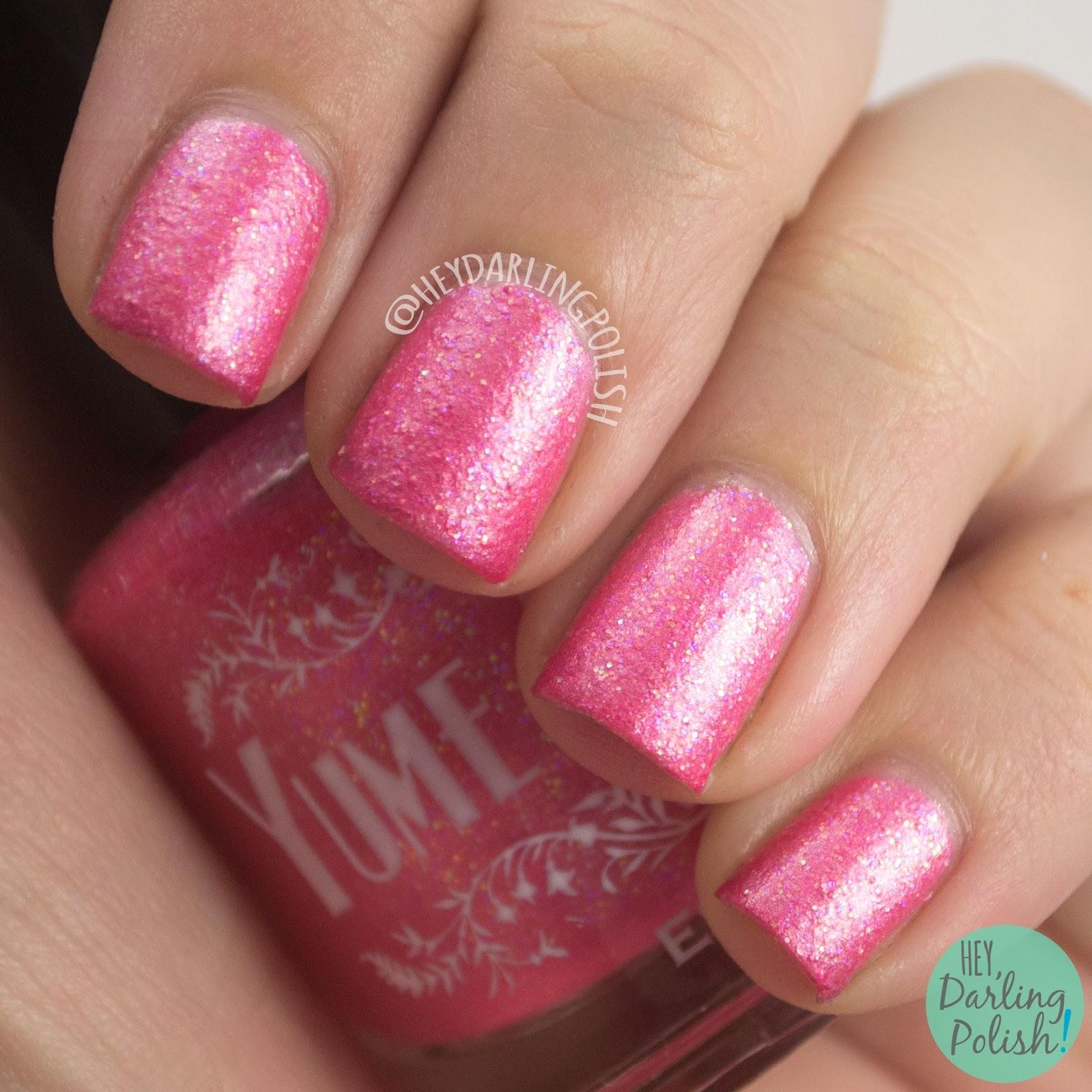 pink lady, pink, texture, nails, nail polish, indie polish, yume lacquer, hey darling polish, sailor moon, swatches, review